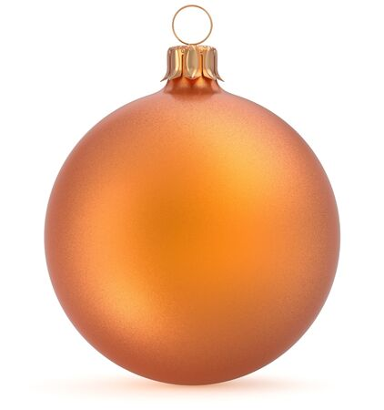 Christmas ball orange New Years Eve decoration wintertime hanging sphere adornment souvenir bauble golden. Traditional ornament happy winter holidays Merry Xmas symbol closeup. 3d render illustration