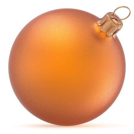 Christmas ball orange wintertime ornament New Years Eve hanging shiny sphere decoration adornment bauble golden. Traditional happy winter holidays Merry Xmas symbol closeup. 3d rendering illustration