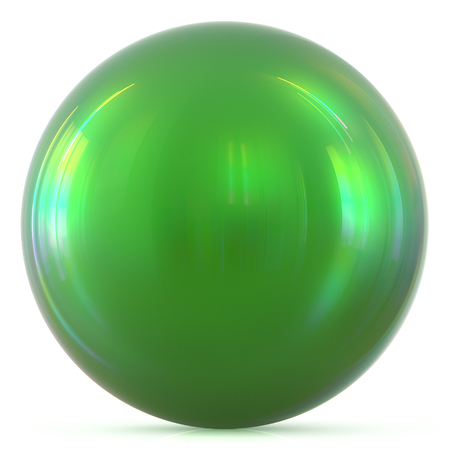 basic figure: Ball green sphere round button basic circle geometric shape solid figure simple minimalistic atom element single drop shiny glossy sparkling object blank balloon icon. 3d render illustration isolated