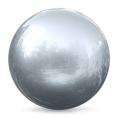 silver circle: Sphere round button silver white ball chrome basic circle geometric shape solid figure simple minimalistic atom element single drop glossy sparkling object blank balloon icon. 3d render illustration