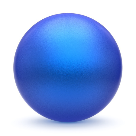 matted: Sphere round button blue matted ball basic circle geometric shape solid figure simple minimalistic atom single drop object blank cyan balloon design element empty. 3d render illustration isolated Stock Photo