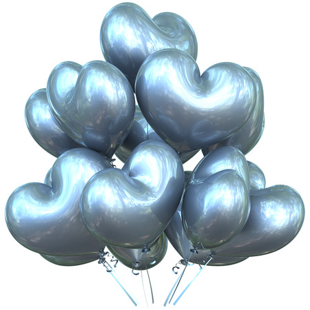 matrimonio feliz: Party balloons happy birthday event decoration love heart shaped glossy white silver. Valentines Day holiday anniversary celebrate christmas carnival marriage greeting card concept. 3D illustration