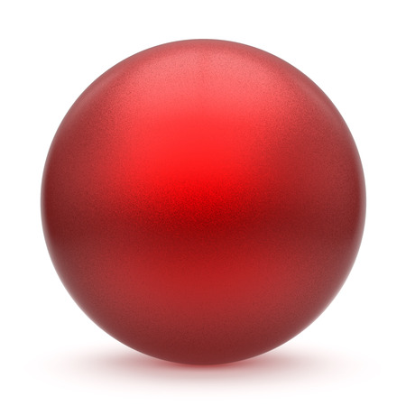 matted: Sphere round button red matted ball basic circle geometric shape solid figure simple minimalistic atom single drop object blank balloon design element empty. 3d render illustration isolated Stock Photo