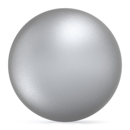 matted: Sphere round button white silver ball basic matted metallic circle geometric shape solid figure simple minimalistic atom single object blank balloon icon design element. 3D illustration isolated
