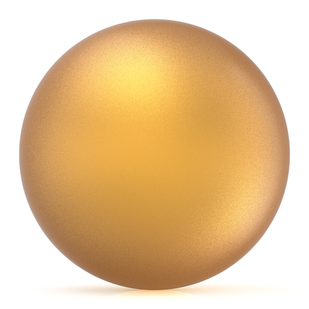 matted: Sphere round button golden ball basic matted yellow circle geometric shape solid figure simple minimalistic atom single drop object blank balloon icon design element. 3D render illustration isolated