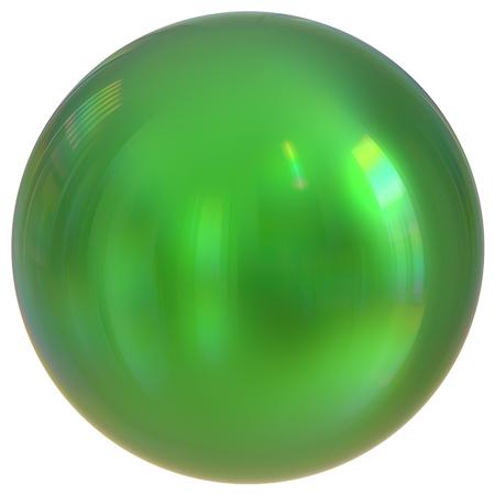 solid figure: Sfera verde sfera rotonda cerchio di base cerchio geometrico forma solida semplice minimalista atomo elemento singolo goccia lucido lucido scintillante oggetto vuoto palloncino icona. 3d rendering illustrazione