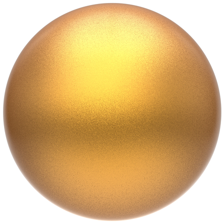 matted: Golden sphere round button ball basic matted yellow circle geometric shape solid figure simple minimalistic atom single drop object blank balloon badge design element. 3D illustration isolated