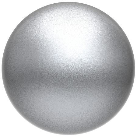 matted: Silver sphere round white button ball basic matted metallic circle geometric shape solid figure simple minimalistic atom single object blank balloon icon design element. 3D illustration isolated