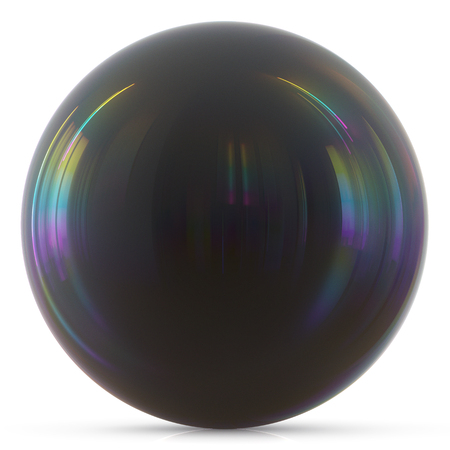 isolated object: Ball black sphere round button basic circle dark geometric shape solid figure simple minimalistic atom element single drop shiny glossy sparkling object blank balloon. 3d render illustration isolated