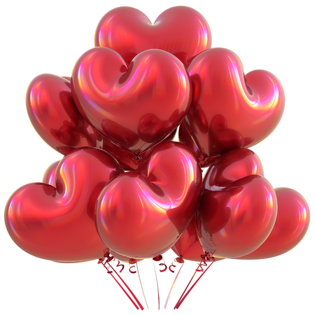 event party: Party heart balloons red happy birthday love event decoration glossy. Valentines Day holiday anniversary celebrate christmas carnival marriage greeting card concept. 3D illustration