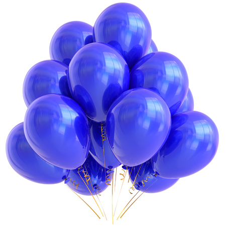 blue party: Blue party balloons happy birthday decoration cyan glossy. Holiday anniversary celebrate new years eve christmas carnival greeting card design element. 3D illustration isolated