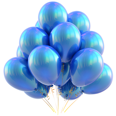 blue party: Balloons happy birthday party decoration blue cyan glossy. Holiday anniversary celebrate new years eve christmas carnival greeting card design element. 3D illustration isolated