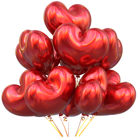 event party: Red balloons love heart shaped happy birthday party event decoration glossy. Valentines Day holiday anniversary celebrate christmas carnival marriage greeting card concept. 3D illustration