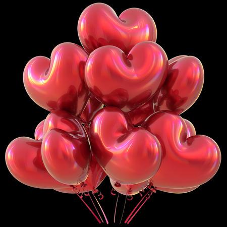 matrimonio feliz: globos de corazón partido rojo de decoración de feliz cumpleaños acontecimiento amor brillante. aniversario feriado del Día de San Valentín celebrar el Carnaval matrimonio concepto de tarjeta de felicitación de Navidad. Ilustración 3D aislado en negro Foto de archivo
