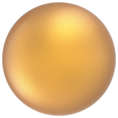 matted: Yellow sphere round button ball basic matted golden circle geometric shape solid figure simple minimalistic atom single drop object blank balloon icon design element. 3D render illustration isolated Stock Photo