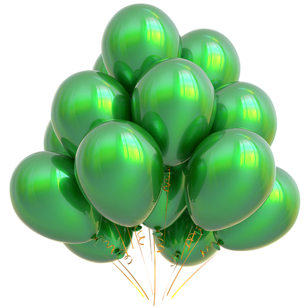 patrick's: Green party balloons happy birthday decoration glossy. Holiday anniversary celebrate new years eve christmas carnival saint patricks day greeting card design element. 3D illustration isolated