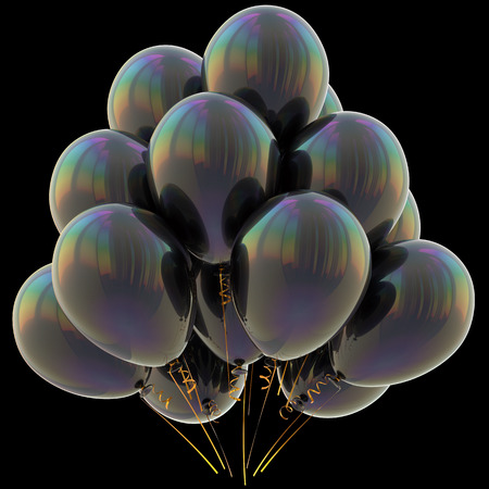 Balloons black happy birthday party decoration dark glossy. Holiday anniversary celebration new years eve xmas christmas carnival greeting card design element. 3D illustration isolated on black