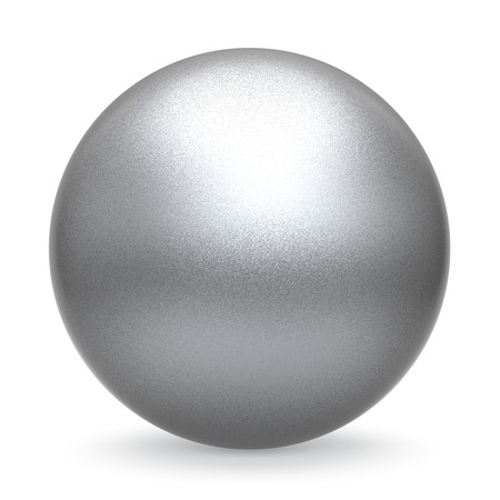 matted: Silver white ball sphere round button basic matted metallic circle geometric shape solid figure simple minimalistic atom single object blank balloon icon design element. 3D illustration isolated