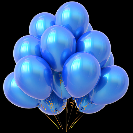 blue party: Blue party balloons happy birthday decoration cyan glossy. Holiday anniversary celebration new years eve christmas xmas carnival greeting card design element. 3D illustration isolated on black Stock Photo