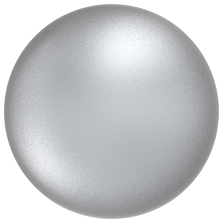matted: White sphere round silver button ball basic matted metallic circle geometric shape solid figure simple minimalistic atom single object blank balloon icon design element. 3D illustration isolated Stock Photo