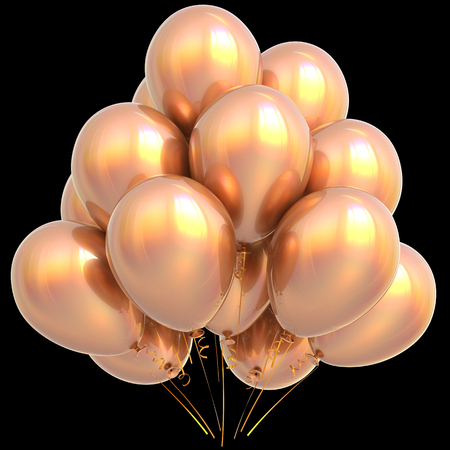 shiny background: Golden balloons happy birthday party decoration yellow gold glossy. Holiday anniversary celebrate new years eve xmas christmas carnival greeting card design element. 3D illustration isolated on black