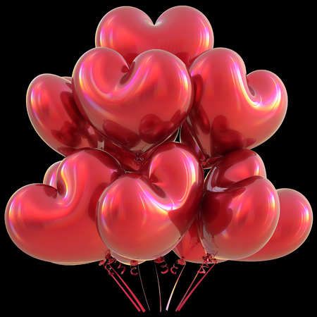 event party: Party heart balloons red happy birthday love event decoration glossy. Valentines Day holiday anniversary celebrate christmas carnival marriage greeting card concept. 3D illustration isolated on black