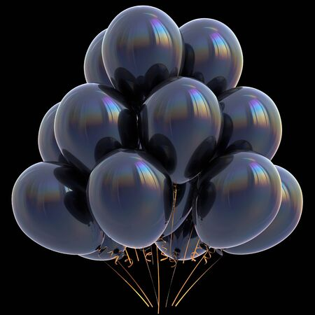 Black balloons happy birthday party decoration dark glossy. Holiday anniversary celebration new years eve xmas christmas carnival greeting card design element. 3D illustration isolated on black