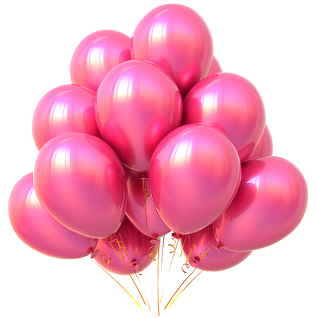 Pink party balloons birthday valentines day carnival decoration glossy. Happy holiday anniversary celebrate new years eve xmas christmas greeting card design element. 3D illustration isolated