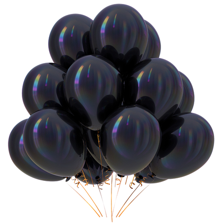 Black balloons happy birthday party decoration dark glossy. Holiday anniversary celebrate new years eve xmas christmas carnival greeting card design element. 3D illustration isolated Stock Photo