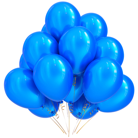 blue party: 3D illustration of blue party helium balloons birthday happy holidays carnival celebrate decoration cyan glossy