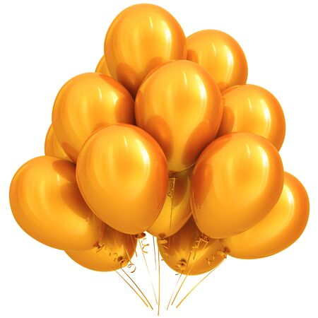 shiny: Yellow balloon party happy birthday holiday carnival celebrate anniversary decoration 3D illustration isolated