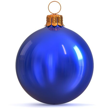 Blue Christmas ball decoration New Years Eve bauble winter hanging adornment souvenir. Traditional ornament happy wintertime holidays Merry Xmas symbol closeup. 3d rendering illustration