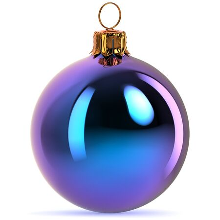 Blue Christmas ball decoration bauble Happy New Years Eve hanging adornment traditional Merry Xmas wintertime ornament polished closeup. 3d rendering illustration