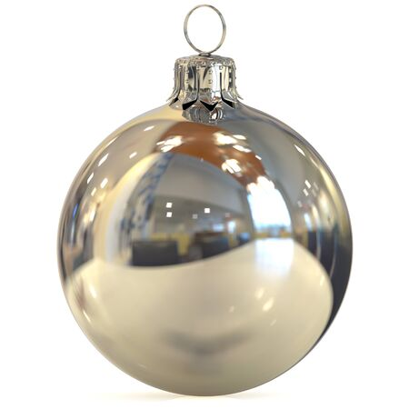 Christmas ball silver chrome decoration closeup New Years Eve bauble white hanging adornment traditional Happy Merry Xmas wintertime ornament polished. 3d rendering illustration