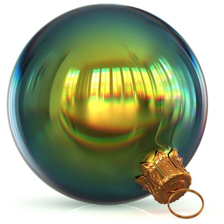 Christmas ball decoration green bauble closeup New Years Eve hanging adornment polished traditional Happy Merry Xmas wintertime ornament sparkling. 3d rendering illustration Stock Photo