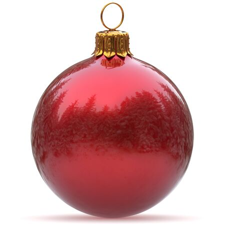 Christmas ball red decoration polished bauble New Years Eve hanging adornment traditional Happy Merry Xmas wintertime holidays ornament sparkling closeup. 3d rendering illustration Stock Photo