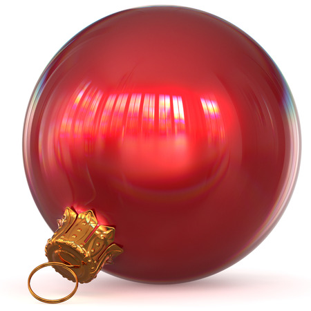 Christmas ball decoration bauble red New Years Eve hanging adornment traditional Happy Merry Xmas wintertime ornament polished closeup. 3d rendering illustration