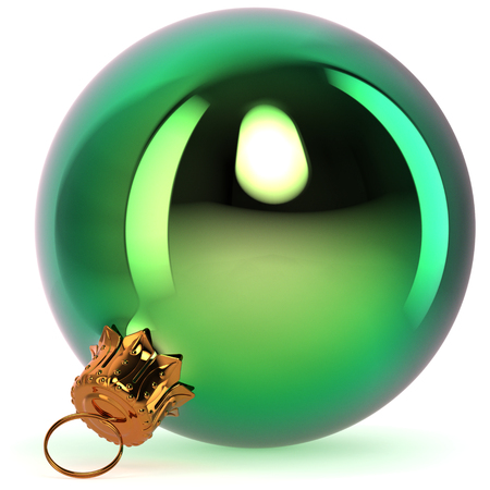 Green Christmas ball decoration New Years Eve bauble hanging adornment traditional Happy Merry Xmas wintertime ornament polished closeup. 3d rendering illustration