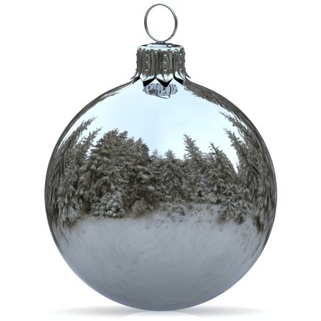 Christmas ball decoration white chrome bauble Happy New Years Eve hanging adornment traditional Merry Xmas wintertime ornament silver sparkling closeup. 3d rendering illustration Stock Photo