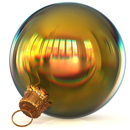 Christmas ball decoration golden bauble closeup New Years Eve hanging adornment polished traditional Happy Merry Xmas wintertime ornament sparkling. 3d rendering illustration