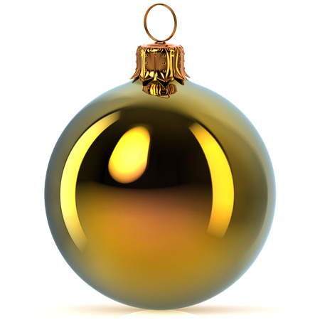 Golden Christmas ball decoration bauble Happy New Years Eve hanging adornment traditional Merry Xmas wintertime ornament polished closeup. 3d rendering illustration