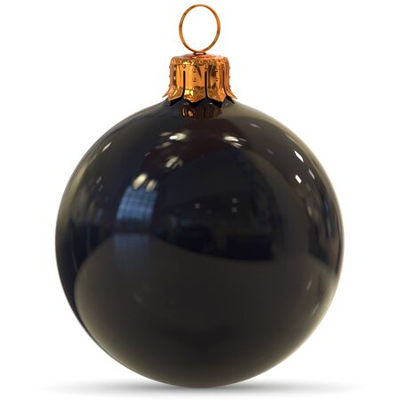 Christmas ball black decoration closeup New Years Eve bauble hanging adornment traditional Happy Merry Xmas wintertime ornament polished. 3d rendering illustration
