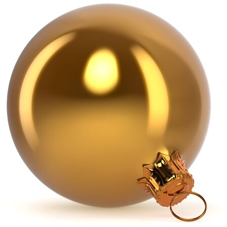 Christmas ball decoration bauble golden New Years Eve hanging adornment traditional Happy Merry Xmas wintertime ornament yellow polished closeup. 3d rendering illustration