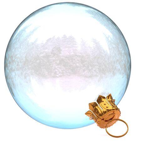 ottimo: Decorazione di vetro palla di Natale bianco pulito Capodanno bauble appeso ornamento tradizionale Buon Natale inverno ornamento traslucido closeup. Illustrazione di rendering 3D