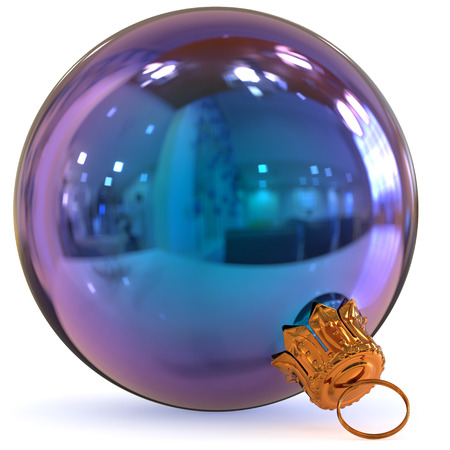 Christmas ball blue decoration bauble Happy New Years Eve hanging adornment traditional Merry Xmas wintertime ornament polished closeup. 3d rendering illustration