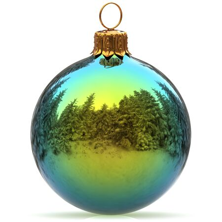 Christmas ball decoration green polished bauble Happy New Years Eve hanging adornment traditional Merry Xmas wintertime ornament sparkling closeup. 3d rendering illustration