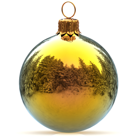 Christmas ball decoration golden polished bauble Happy New Years Eve hanging adornment traditional Merry Xmas wintertime ornament sparkling closeup. 3d rendering illustration