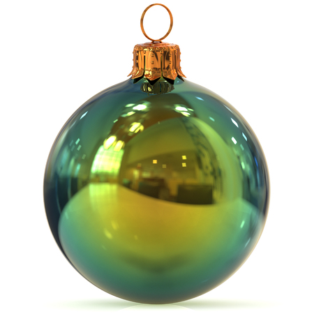 Christmas ball green decoration closeup New Years Eve bauble hanging adornment traditional Happy Merry Xmas wintertime ornament polished. 3d rendering illustration Stock Photo