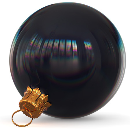 Christmas ball decoration black bauble closeup Happy New Years Eve hanging adornment polished traditional Merry Xmas wintertime ornament sparkling. 3d rendering illustration