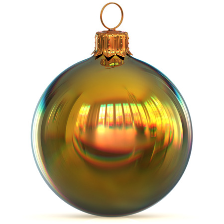 Christmas ball golden decoration closeup New Years Eve bauble hanging adornment traditional Happy Merry Xmas wintertime ornament polished. 3d rendering illustration Stock Photo